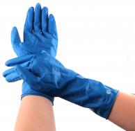 Перчатки латексные плотные синие индивидуально упакованные, размер S