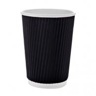 Стакан бумажный белый + гофра черная, 450 мл