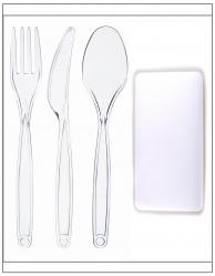Набір одноразовий: виделка + ніж + ложка + серветка прозорі в індивідуальній упаковці