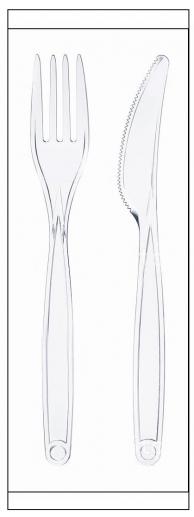 Набір одноразовий: виделка + ніж прозорі в індивідуальній упаковці
