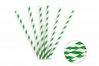 Трубочка бумажная витая бело-зеленая, 20 см, 5 мм, 25 шт.