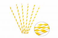 Трубочка бумажная витая бело-желтая, 20 см, 5 мм, 25 шт.