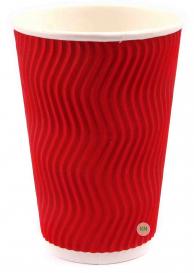 Стакан бумажный белый + гофра красная, 340 мл