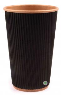 Стакан бумажный крафт + гофра чёрная, 450 мл