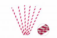 Трубочка бумажная витая бело-розовая, 20 см, 5 мм, 25 шт.