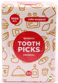 Зубочистки без ментолу в індивідуальній целофановій упаковці, 1000 шт.