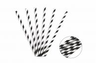 Трубочка бумажная витая бело-черная, 20 см, 5 мм, 25 шт.