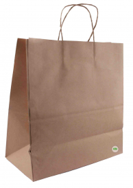 Пакет бумажный с ручками, коричневый