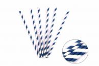 Трубочка бумажная витая бело-синяя, 20 см, 5 мм, 25 шт.