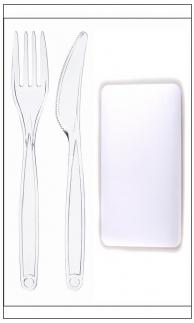 Набор одноразовый: вилка + нож + салфетка прозрачные в индивидуальной упаковке