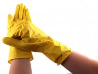 Перчатки латексные плотные желтые индивидуально упакованные, размер S